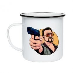 Кружка емальована Лебовськи з пістолетом
