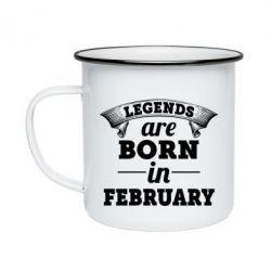 Кружка эмалированная Legends are born in February