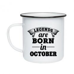 Кружка эмалированная Legends are born in October
