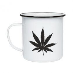 Кружка емальована Листочок марихуани