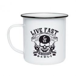 Кружка эмалированная Live Fast and No Regrets Badly