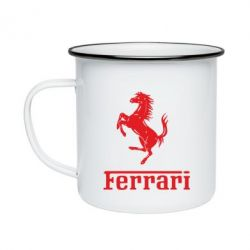 Кружка эмалированная логотип Ferrari