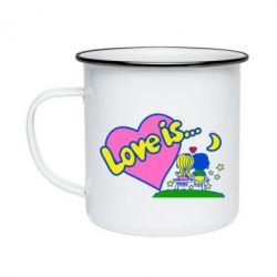 Кружка эмалированная Love is... - FatLine