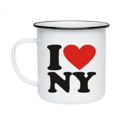 Кружка емальована Люблю Нью Йорк