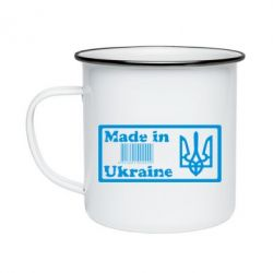Кружка эмалированная Made in Ukraine штрих-код - FatLine