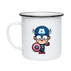 Кружка эмалированная Маленький Капитан Америка