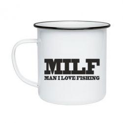 Кружка емальована Man I Love Fishing