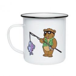 Кружка емальована Ведмідь ловить рибу