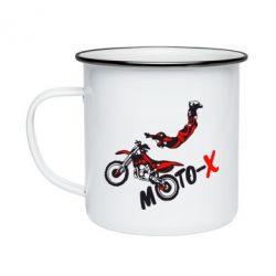 Кружка эмалированная Moto-X