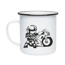 Кружка эмалированная Мотоциклист - FatLine
