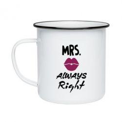 Кружка емальована Mrs. always right