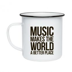Кружка эмалированная Music makes the world a better place - FatLine