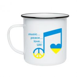 Кружка емальована Music, peace, love UA