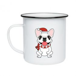 Кружка эмалированная New Year's French Bulldog