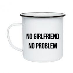 Кружка эмалированная No girlfriend. No problem - FatLine
