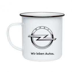 Кружка эмалированная Opel Wir leben Autos