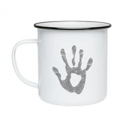 Кружка эмалированная Отпечаток руки