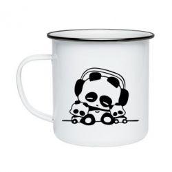 Кружка эмалированная Панда в наушниках