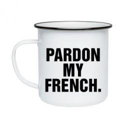 Кружка эмалированная Pardon my french. - FatLine