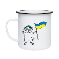 Кружка эмалированная Пес з прапором - FatLine