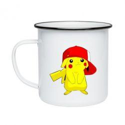 Кружка эмалированная Pikachu in a cap