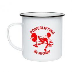 Кружка эмалированная Powerlifting be Stronger