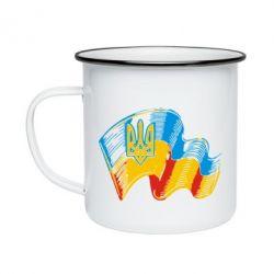 Кружка емальована Прапор України з гербом