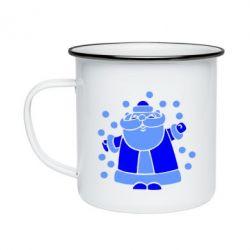 Кружка емальована Прикольний дід мороз
