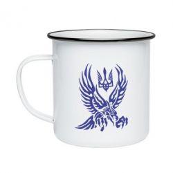 Кружка емальована Птах та герб
