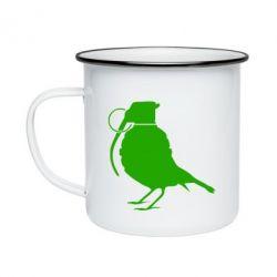 Кружка эмалированная Птичка с гранатой