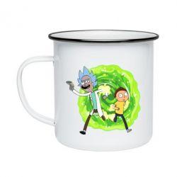 Кружка емальована Rick and Morty art
