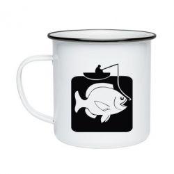 Кружка эмалированная Рыба на крючке