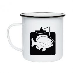 Кружка емальована Риба на гачку
