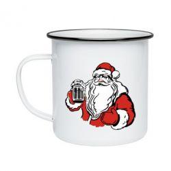 Кружка эмалированная Santa Claus with beer