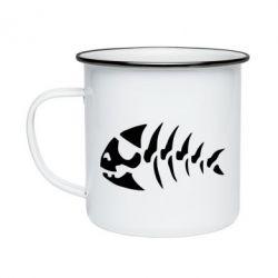 Кружка эмалированная скелет рыбки