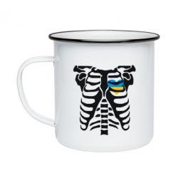 Кружка емальована Скелет з серцем Україна