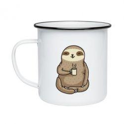 Кружка емальована Sloth loves coffee