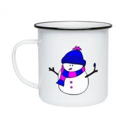Кружка эмалированная Снеговик