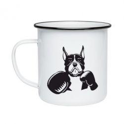 Кружка емальована Собака в боксерських рукавичках