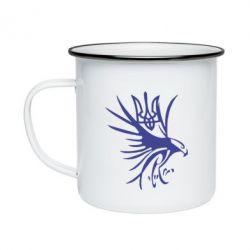 Кружка емальована Сокіл та герб України