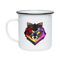 Кружка эмалированная Сolorful wolf