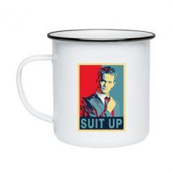 Кружка эмалированная Suit up!