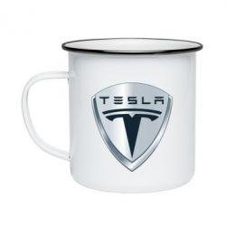 Кружка емальована Tesla Corp