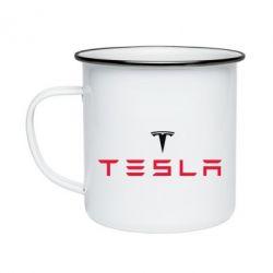 Кружка эмалированная Tesla
