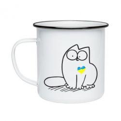 Кружка емальована Типовий український кіт