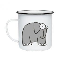 Кружка эмалированная удивленный слон - FatLine