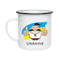 Кружка емальована Ukraine kozak