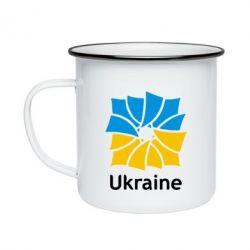 Кружка эмалированная Ukraine квадратний прапор - FatLine