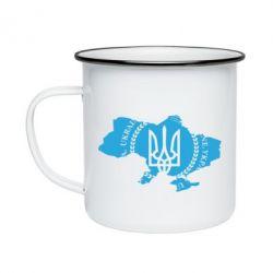 Кружка емальована Ukrainian Map