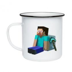 Кружка емальована Втомлений Стів